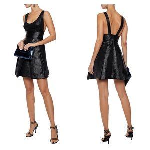 Milly Whitney Cloqué Cocktail Dress Black Metallic